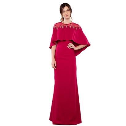 Vestido Longo Izadora Lima Brand Em Crepe Com Capa Feminino-Feminino
