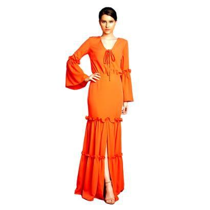 Vestido Longo Izadora Lima Brand Em Crepe Top Blusado Feminino-Feminino
