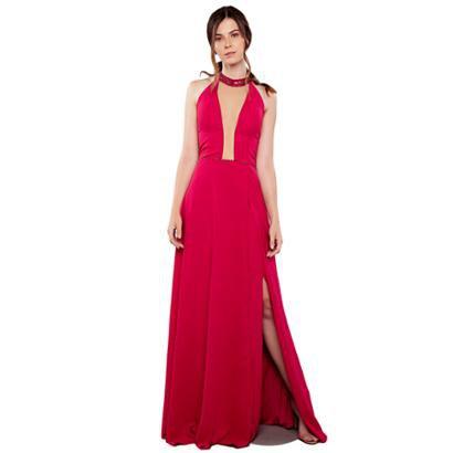 Vestido Longo Izadora Lima Brand Em Musseline Top Frente Única Feminino-Feminino