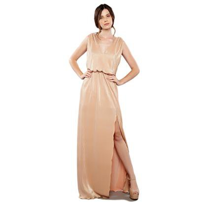 Vestido Longo Izadora Lima Brand Em Tecido Plissado Mettalic Feminino-Feminino