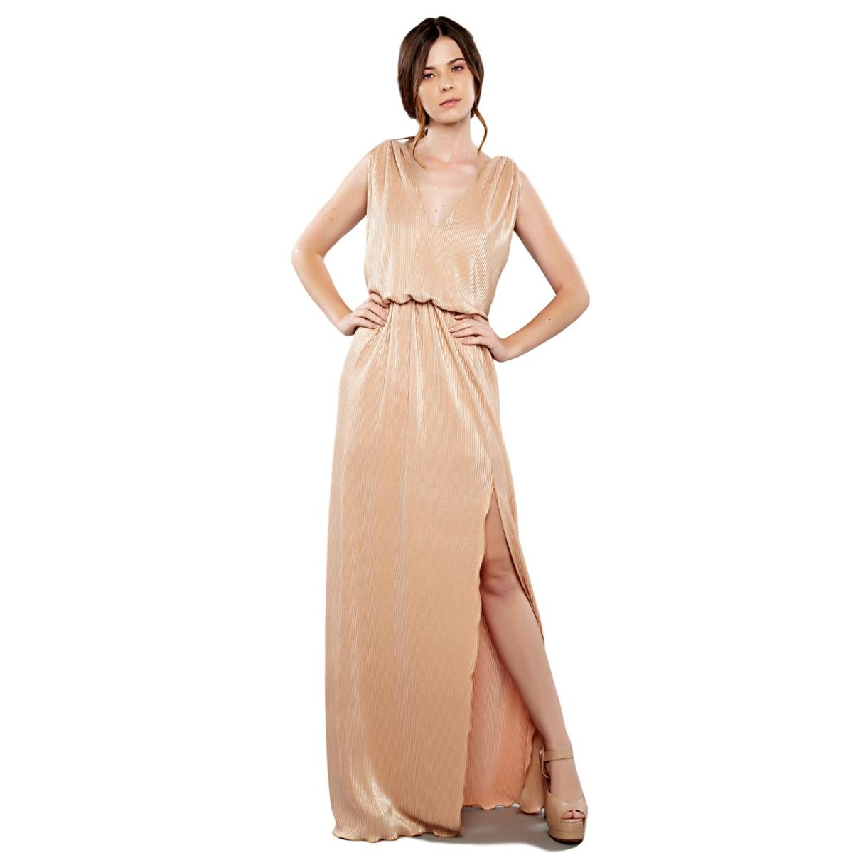 Vestido Longo Izadora Lima Brand Em Tecido Plissado Mettalic Feminino Nude