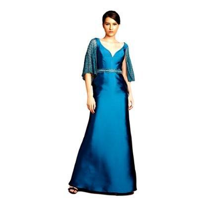 Vestido Longo Izadora Lima Brand Em Zibeline Decote V Feminino-Feminino