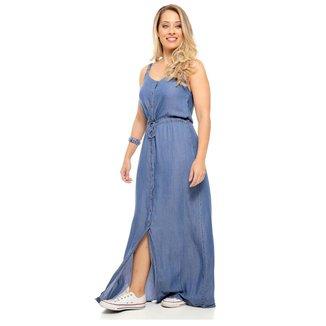 Vestido Longo Jeans Sob de Amarrar com Botões Feminino
