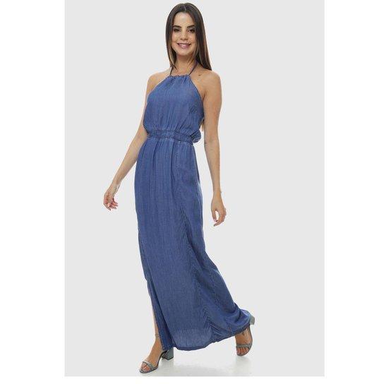 Vestido Longo Jeans SOB Frente Única com Abertura Lateral Feminino - Azul