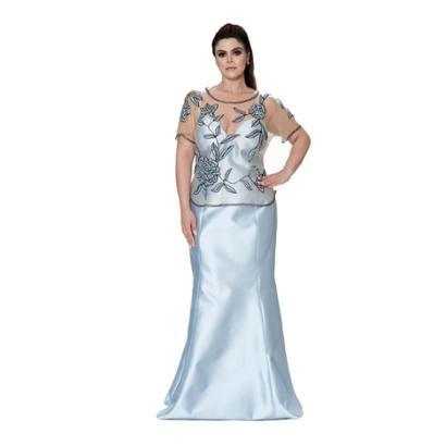 Vestido Longo Kalandra Em Zibeline Com Pelerine Feminino-Feminino