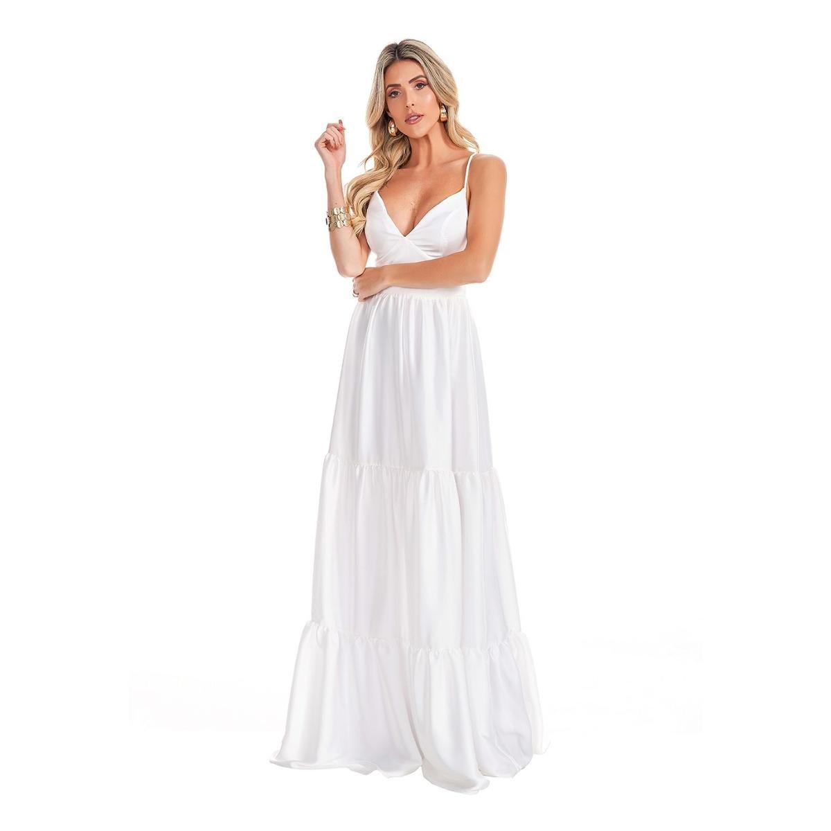 Vestido Longo Lala Dubi Franzido Camadas Chiffon Branco