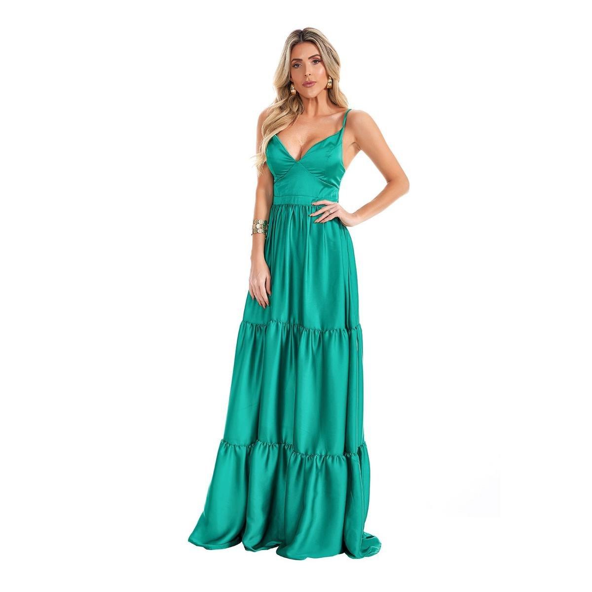 Vestido Longo Lala Dubi Franzido Camadas Chiffon Verde