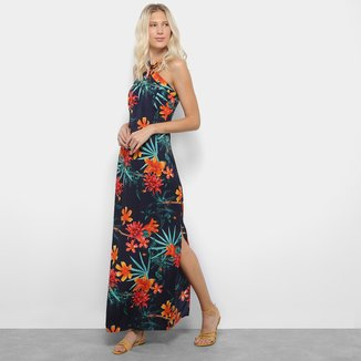 Vestido Longo Lily Fashion Floral Alça Cruzada