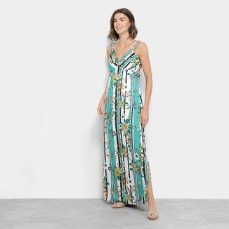 Vestido Longo Lily Fashion Listrado Floral com Fendas