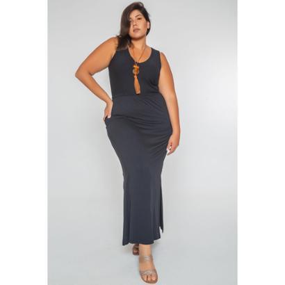 Vestido Longo Liso Plus Size - Feminino-Preto