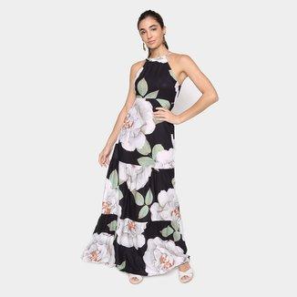 Vestido Longo Mercatto Floral Babado Feminino