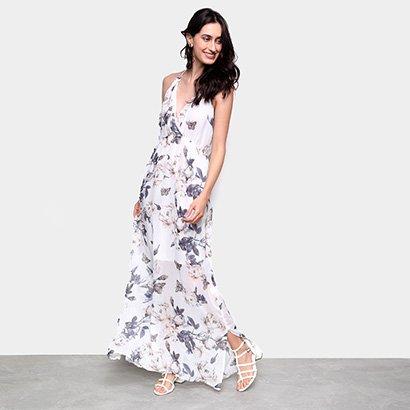 Vestido Longo MI Estampado Gola V - Feminino-Branco