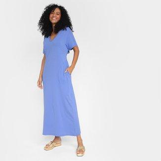 Vestido Longo Morena Rosa Decote V E Bolsos