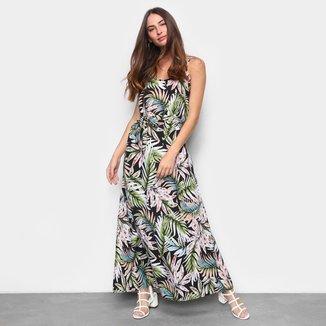 Vestido Longo MS Fashion Estampado Amarração Feminino