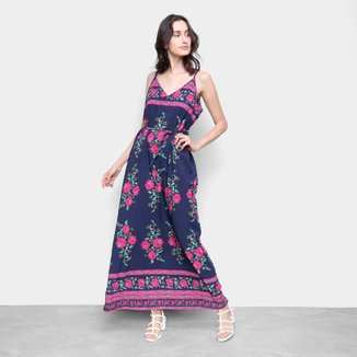 Vestido Longo Ms Fashion Estampado