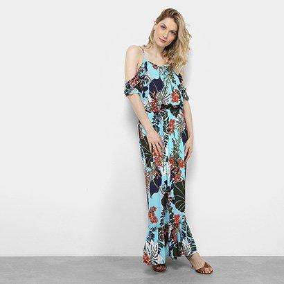 Vestido Longo Open Shoulder Lemise Floral Feminino-Feminino