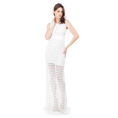 Vestido Longo Pink Tricot Renda Rodado Feminino - Feminino-Branco