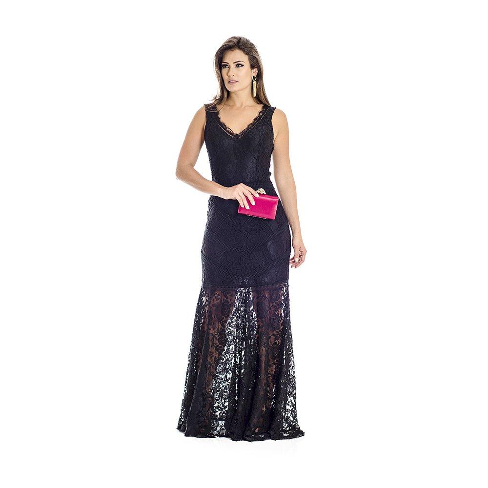 ffa9d6139414 Vestido Longo Renda Ana Hickmann - Preto | Zattini