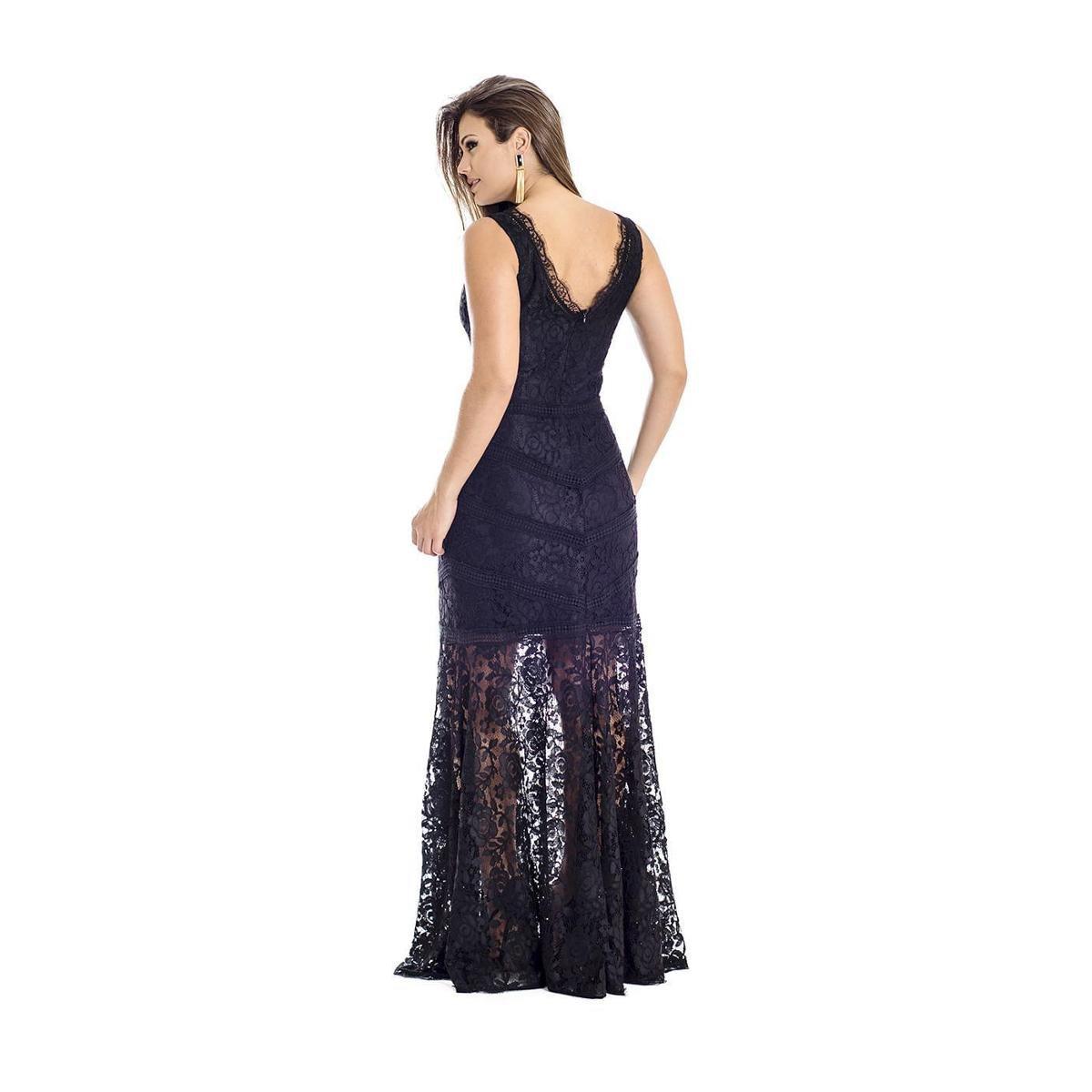 e303cd4e9f13d Vestido Longo Renda Ana Hickmann - Preto - Compre Agora   Zattini
