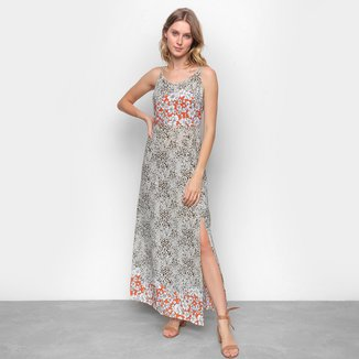 Vestido Longo Top Moda Estampado Fenda