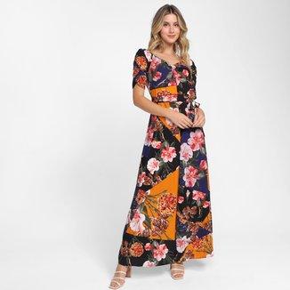 Vestido Longo Top Modas Floral Acinturado