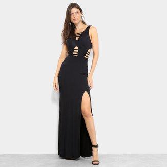 Vestido Longo Unk Brand Evasê Stripe