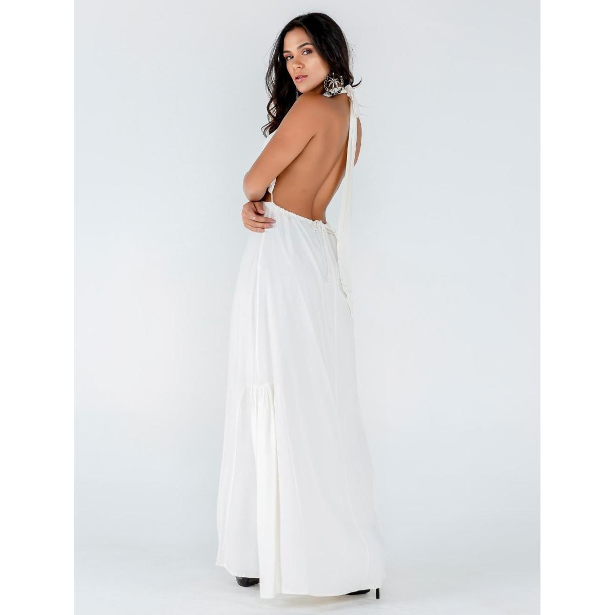 Vestido Longo Viscose Frente Única - Off White