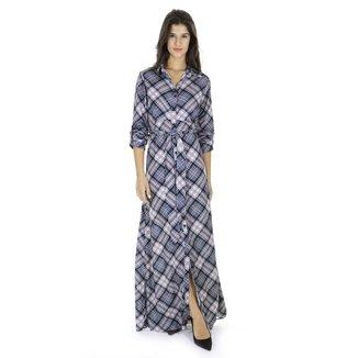 Vestido longo xadrez AHA feminino