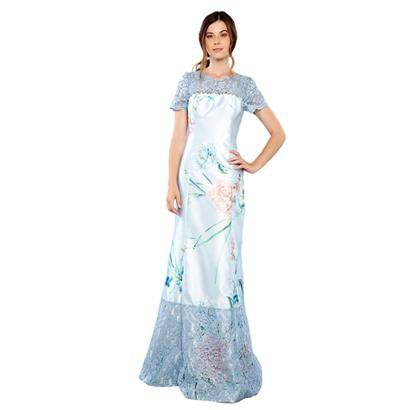 Vestido Longo Zibeline E Renda Feminino-Feminino