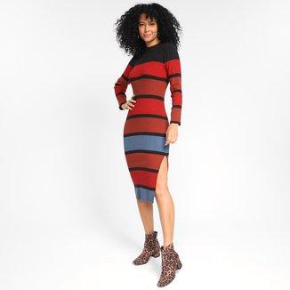 Vestido Loved Listrado Tricolor Manga Longa Feminino
