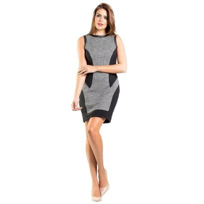 Vestido Malha Tweed Couro Recortes Lume Feminino-Feminino