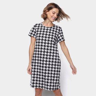 Vestido Malwee Bicolor Manga Curta Feminino