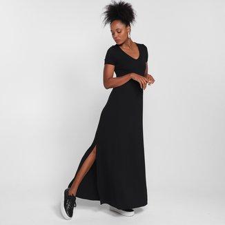 Vestido Malwee Evasê Longo Comfort Fenda
