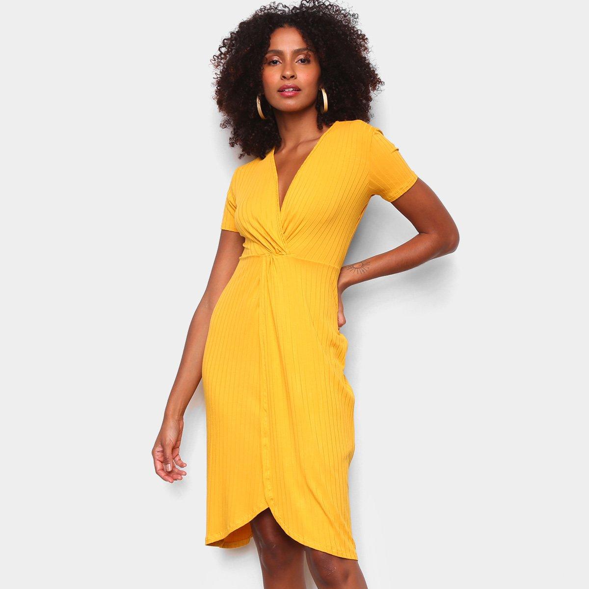 Vestido Malwee Midi Canelado - Amarelo