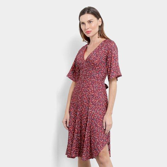 Vestido Maria Filó Midi Lhama - Vermelho