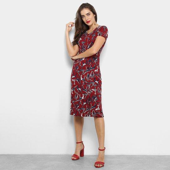 Vestido Maria Filó Midi Reto Estampa Girafas - Vermelho