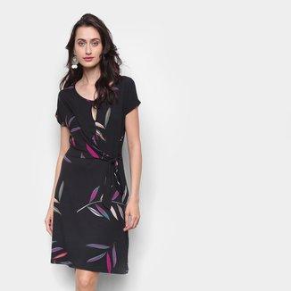 Vestido Marialicia Curto Com Recorte E Amarração Floral