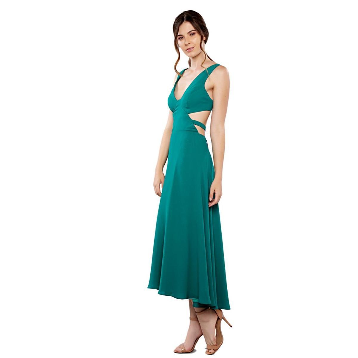Vestido Maxi Midi Em Musseline Feminino - Verde