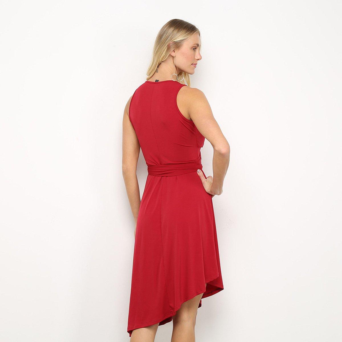 Vestido Mercatto Evasê Midi Assimétrico Transpassado - Vermelho Escuro