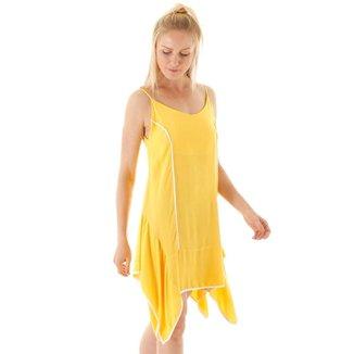 Vestido Midi Assimétrico Com Alcinha E Víes Feminino