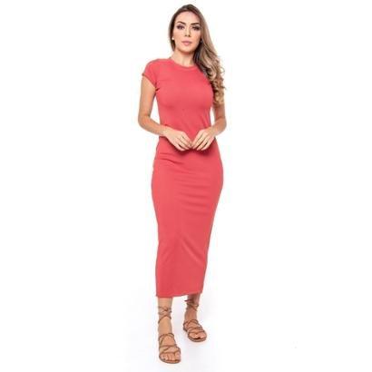 Vestido Midi Canelado Vértice Feminino