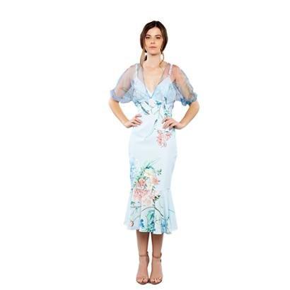 Vestido Midi Com Mangas Bufantes Feminino-Feminino
