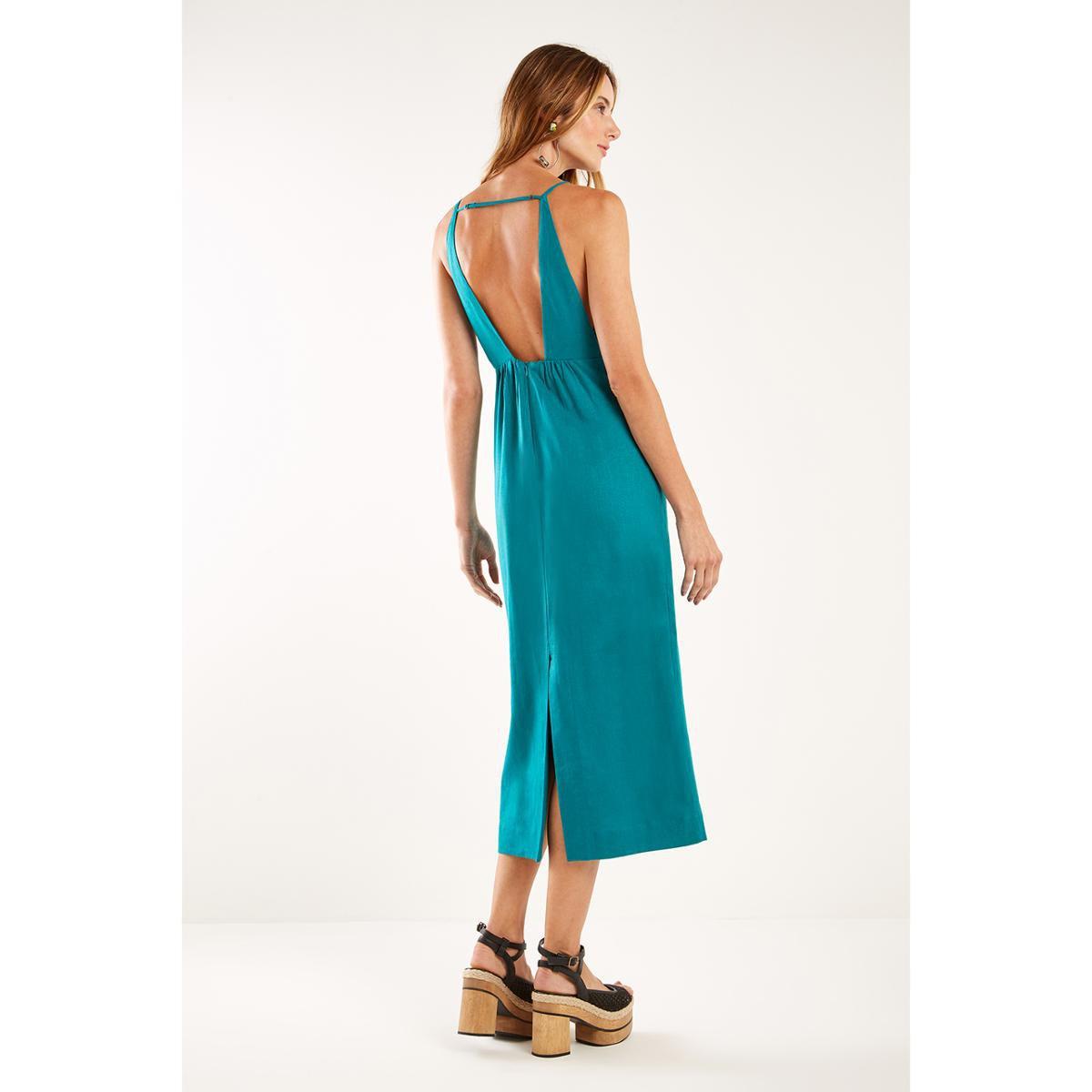 Vestido Midi Decote V Sacada - Verde