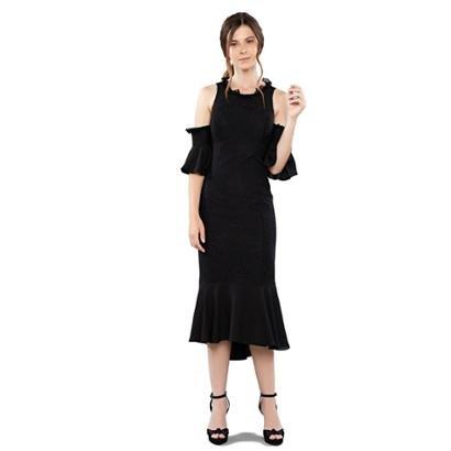 Vestido Midi Em Renda Mangas Falsas Feminino-Feminino