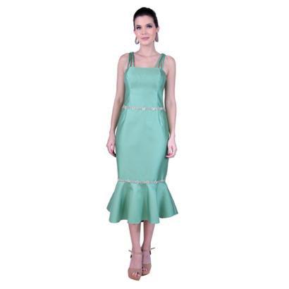 Vestido Midi Em Zibeline Com Bordados De Strass Feminino-Feminino