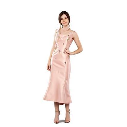 Vestido Midi Em Zibeline Com Bordados Em Chatons Feminino-Feminino