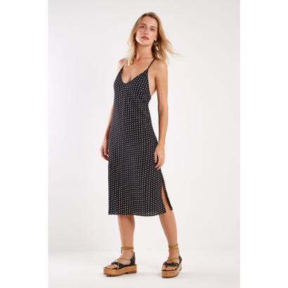 Vestido Midi Est Pois Sacada Feminino