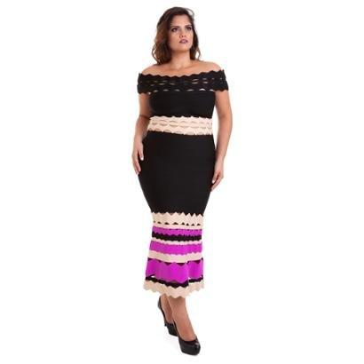 Vestido Midi Izad Em Bandagem Com Saia Colorida Feminino-Feminino