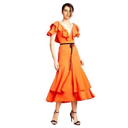 Vestido Midi Izadora Lima Brand Decote V Com Babados Feminino-Feminino