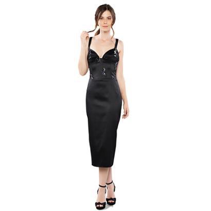 Vestido Midi Izadora Lima Brand Em Cetim Top Estilo Corselet Feminino-Feminino